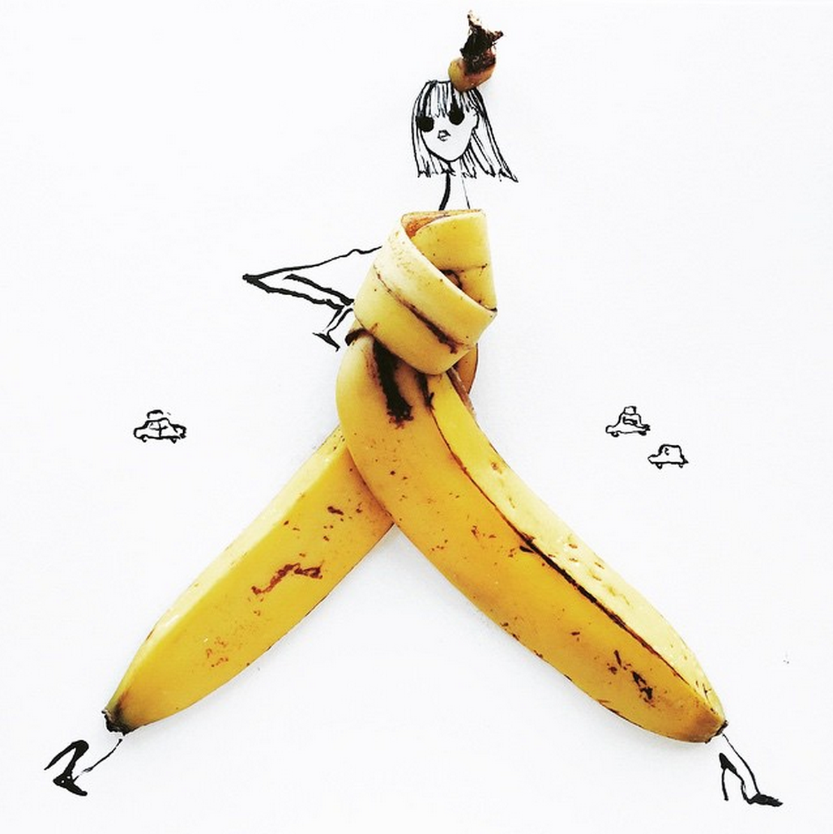 Food Fashion Sketches - Banana Peel Girl