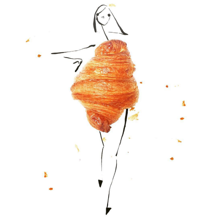 Food Fashion Sketches - Croissant Girl