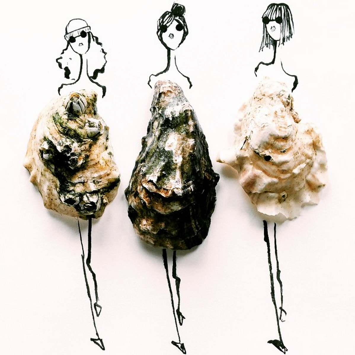 Food Fashion Sketches - Oysters Shells Girls