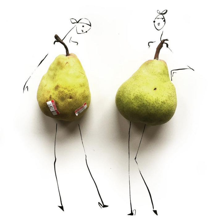 Food Fashion Sketches - Pears Girl