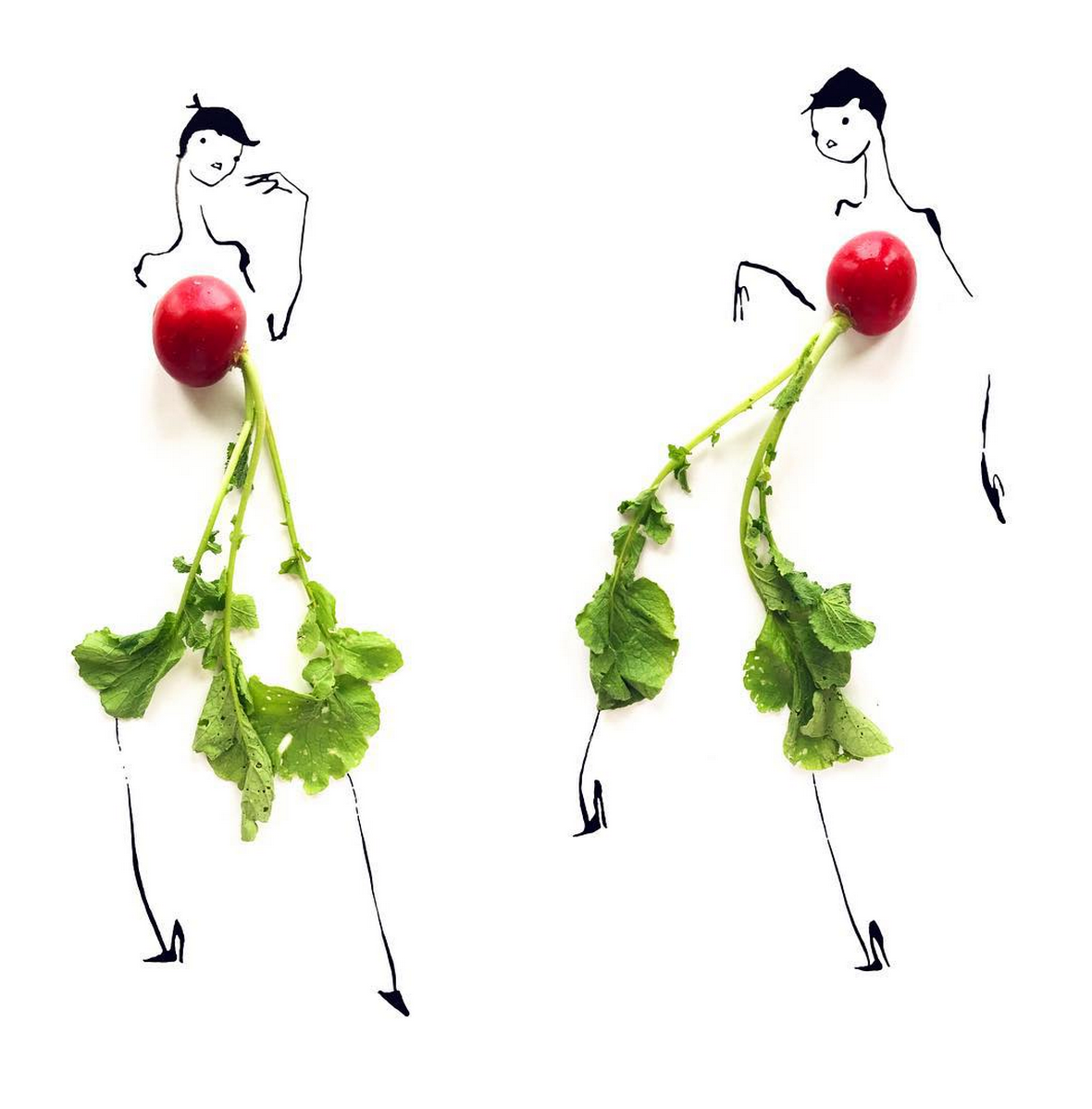 Food Fashion Sketches - Radish Girls