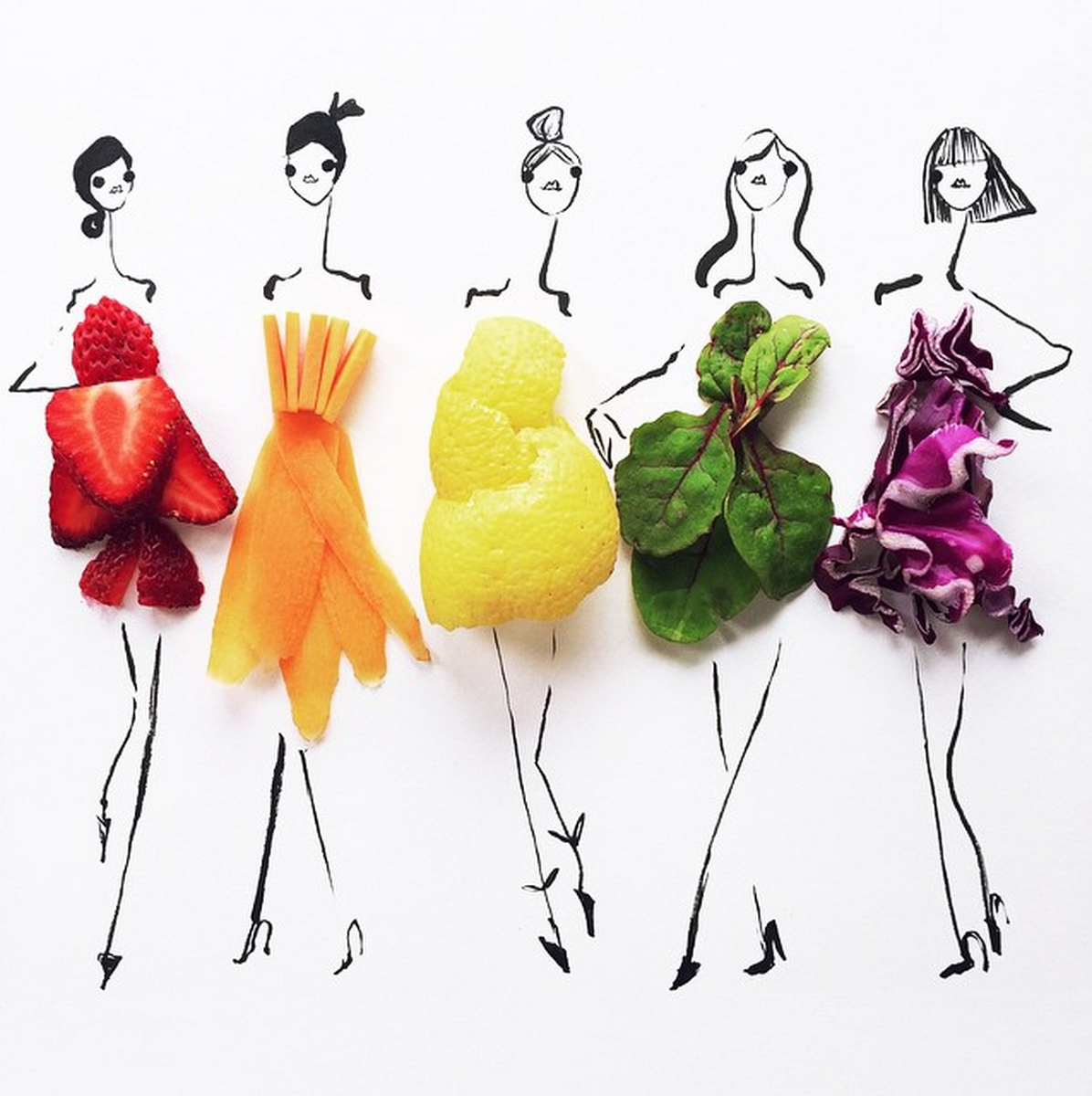 Food Fashion Sketches - Rainbow Fruit and Vegetables Girls