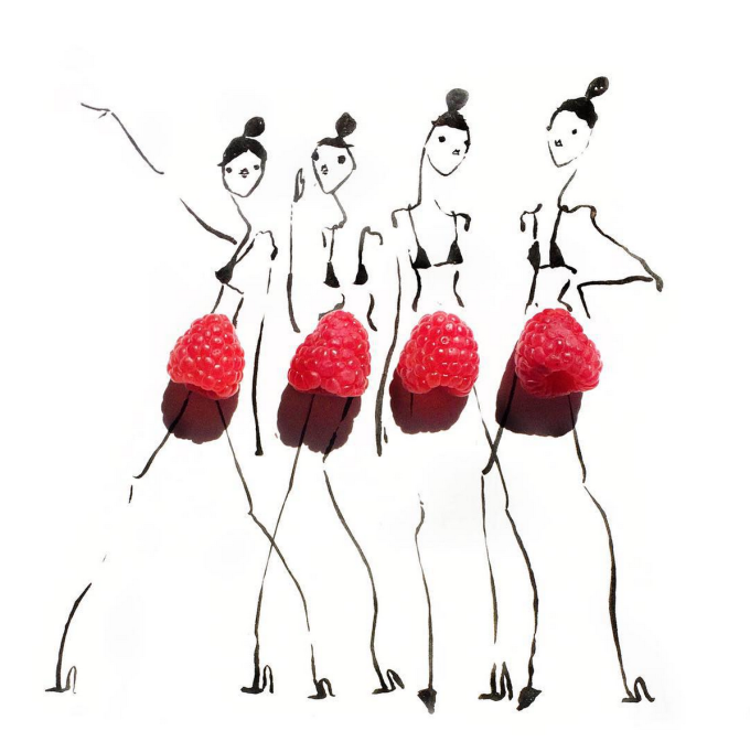 Food Fashion Sketches - Raspberry Skirts Girls