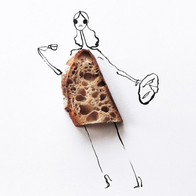 Food Fashion Sketches - Tartine Bakery Toast Girl