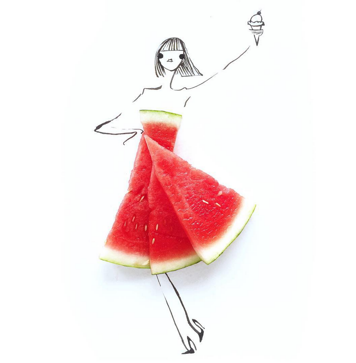 Food Fashion Sketches - Watermelon Dress - Summer Ice Cream