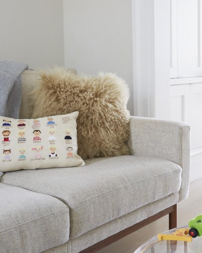 Jessi Randall of Loeffler Randall's Sleek White Park Slope, Brooklyn Renovation - Embroidered Pillow - Living Room Design