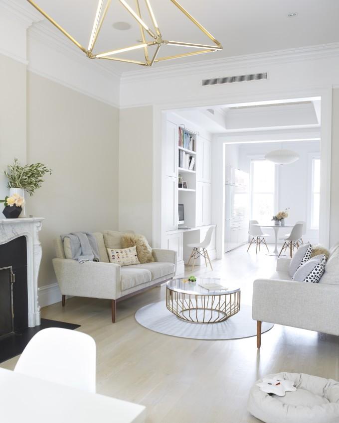 Jessi Randall of Loeffler Randall's Sleek White Park Slope, Brooklyn Renovation - Modern Living Room Design
