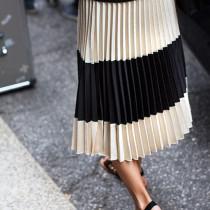 pleated-satin-cream-and-black-striped-midi-skirt