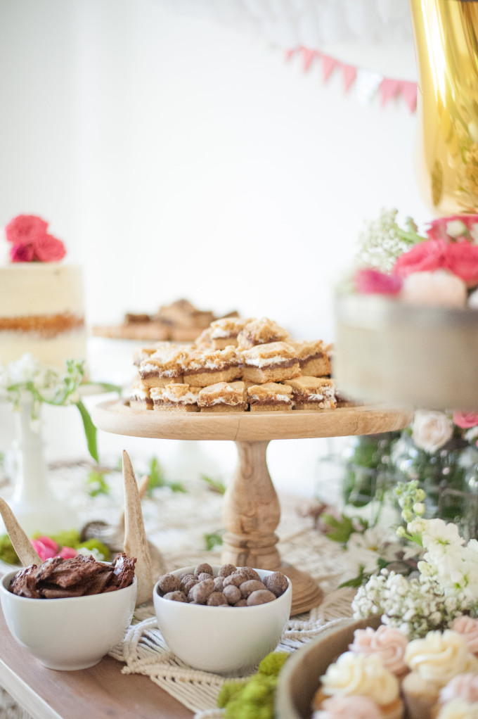 First Birthday Bohemian Backyard Party - dessert table - naked cake and s'mores bars