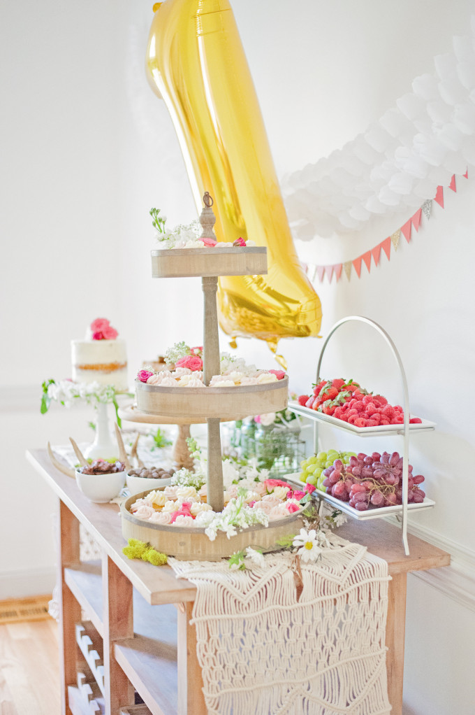 First Birthday Bohemian Backyard Party - dessert table - naked cake