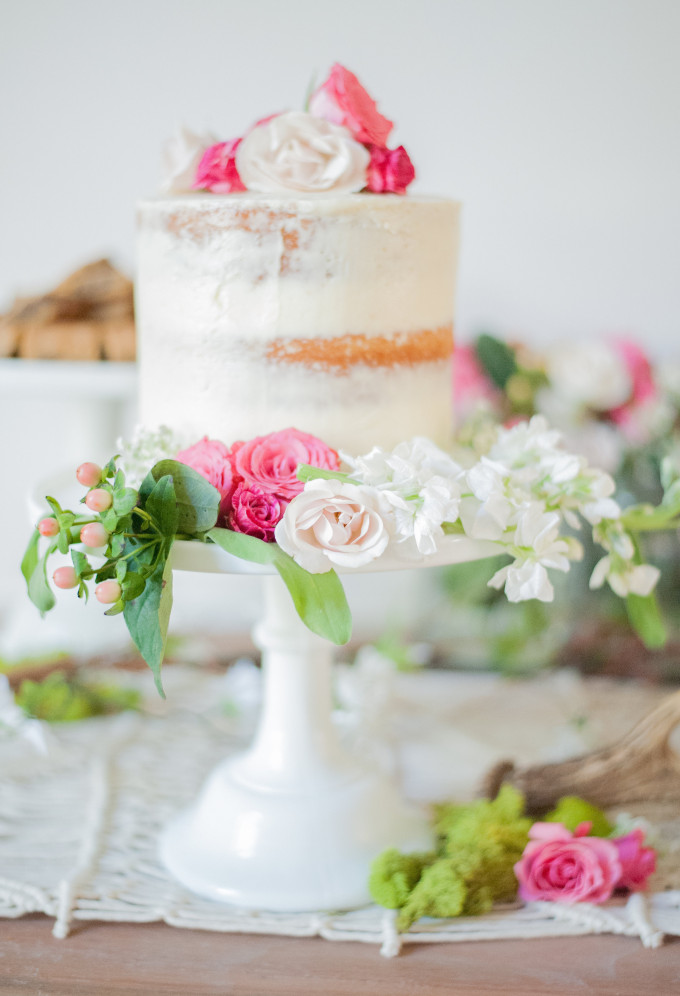 First Birthday Bohemian Backyard Party - dessert table - naked cake and flowers