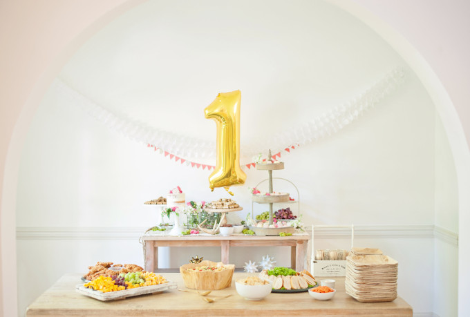 First Birthday Bohemian Backyard Party - food and dessert table