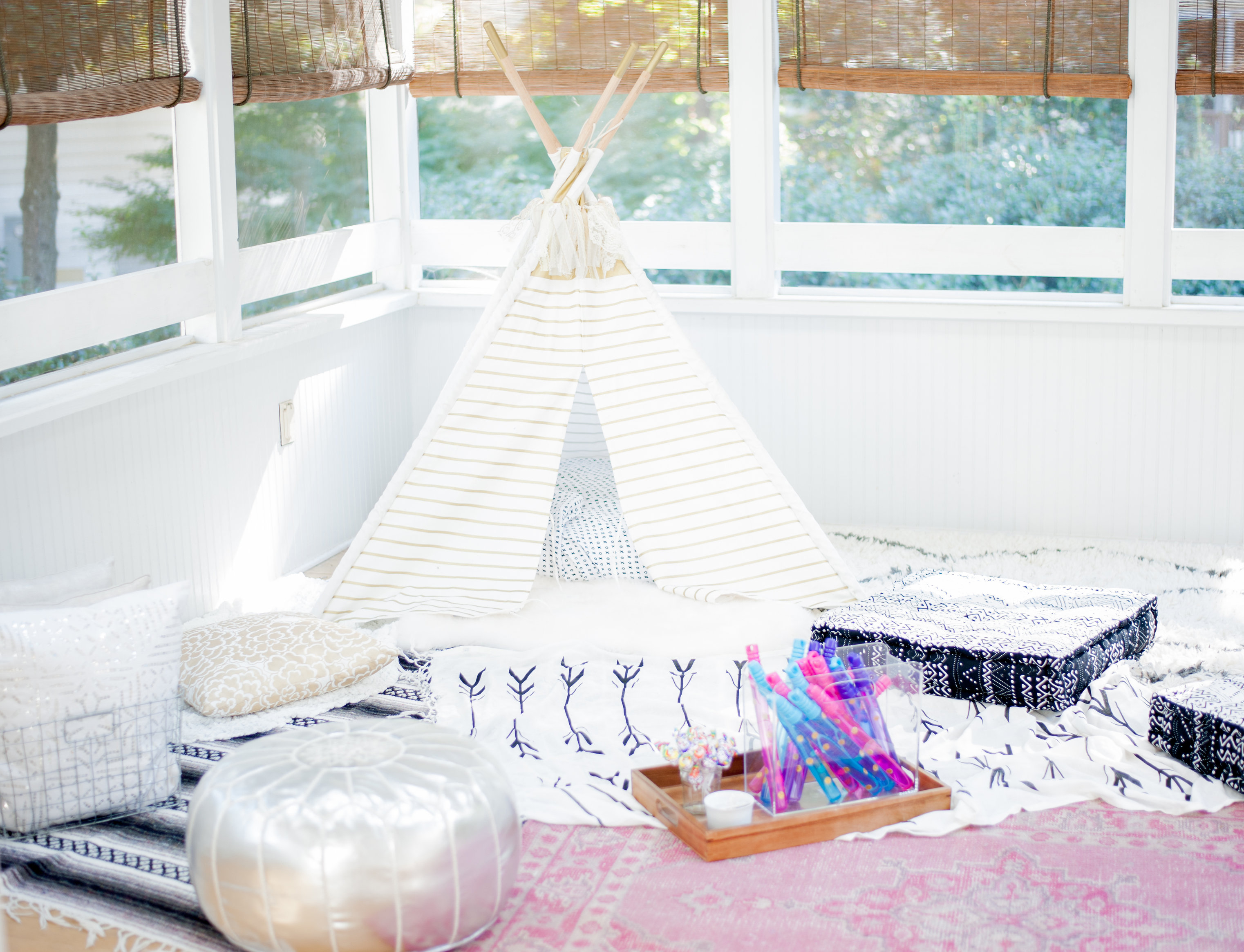 First Birthday Bohemian Backyard Party - Land of Nod Teepee Lounge