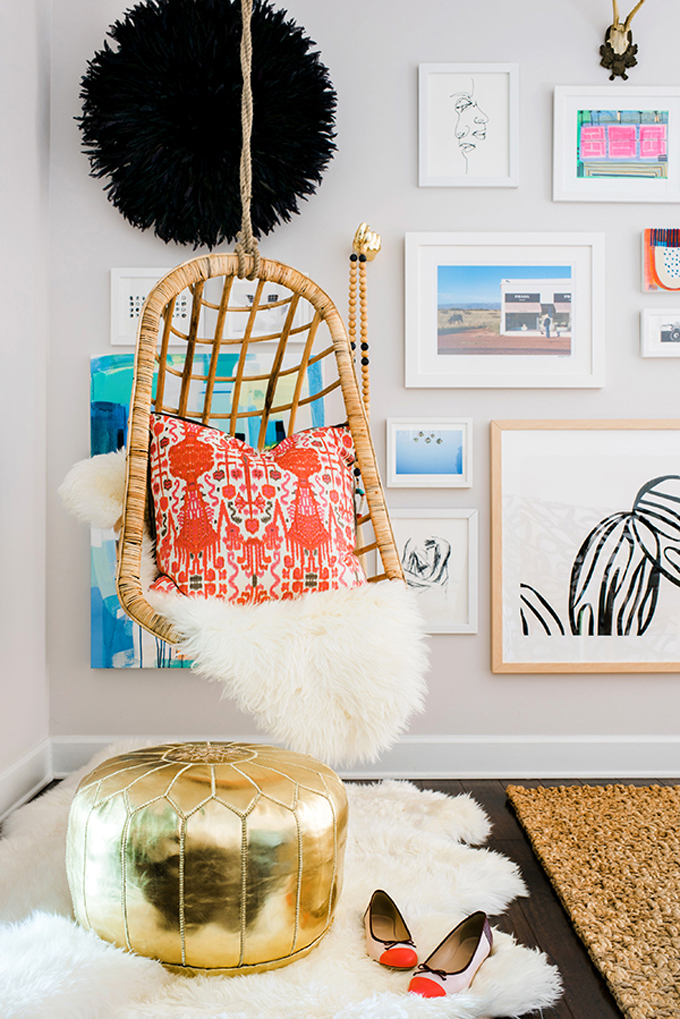 20 ways to decorate with african juju hats glitter inc for Hanging chair living room