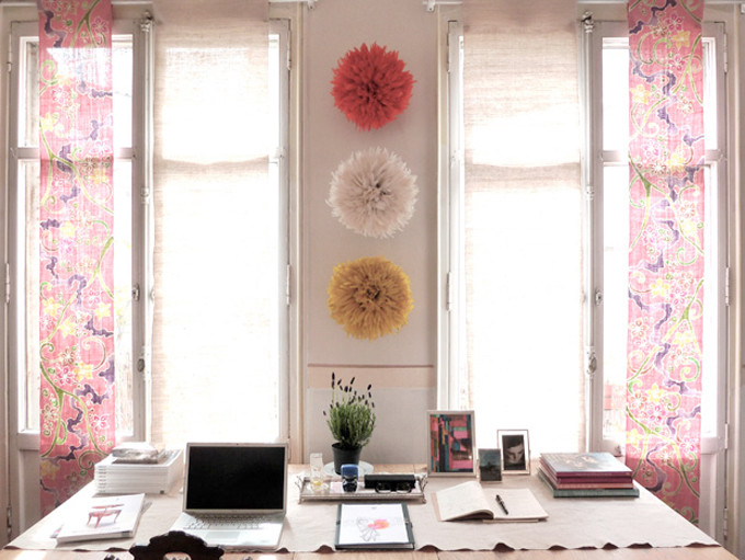 20 Ways to Decorate with African Juju Hats - Feather Headdresses - Interior Design - Three Colorful Juju Hats in an Office