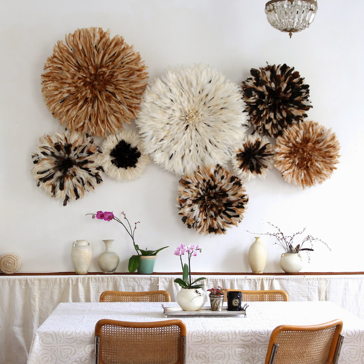 20 Ways to Decorate with African Juju Hats - Feather Headdresses - Interior Design - Natural Juju Hat Installation in a Dining Room