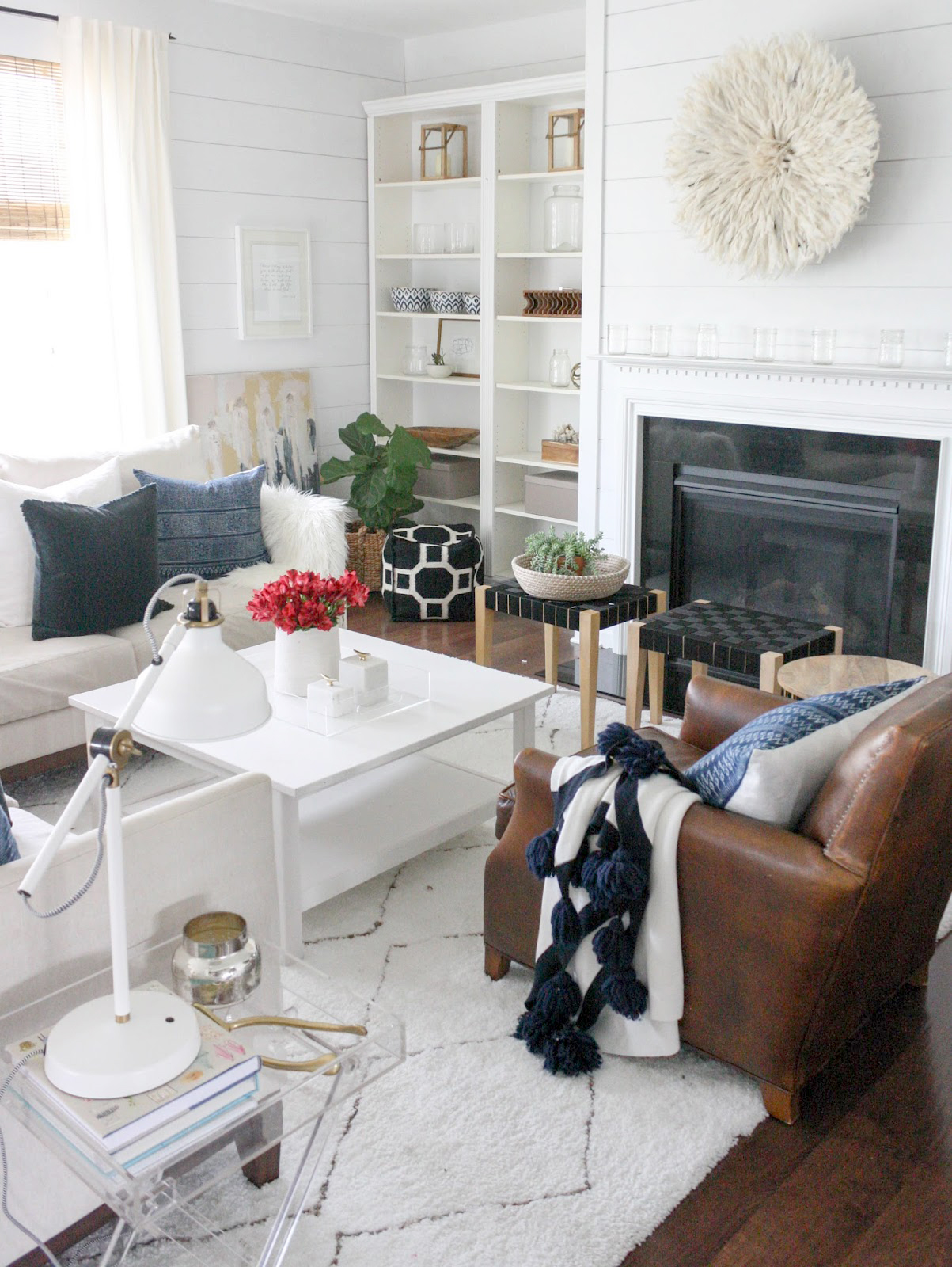 20 ways to decorate with african juju hats glitter inc - Decorate living room with fireplace ...