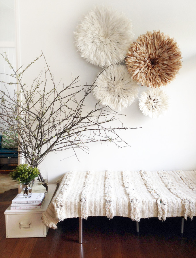 20 Ways to Decorate with African Juju Hats - Feather Headdresses - Interior Design - Table Tonic Bamileke Juju Hat and Moroccan Wedding Blanket