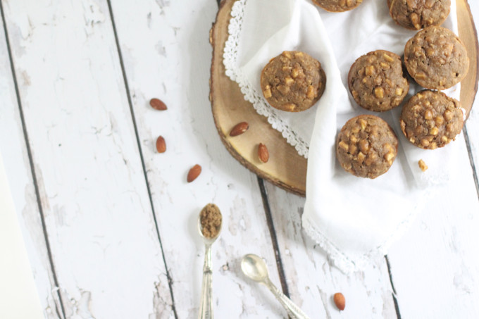Healthy Gluten-Free Apple Cinnamon Almond Muffins; dairy-free, gluten-free, oil-free, and happen to taste amazing. For some crazy recipe science reason, these healthy muffins come out magically moist, cakey, and delicious.