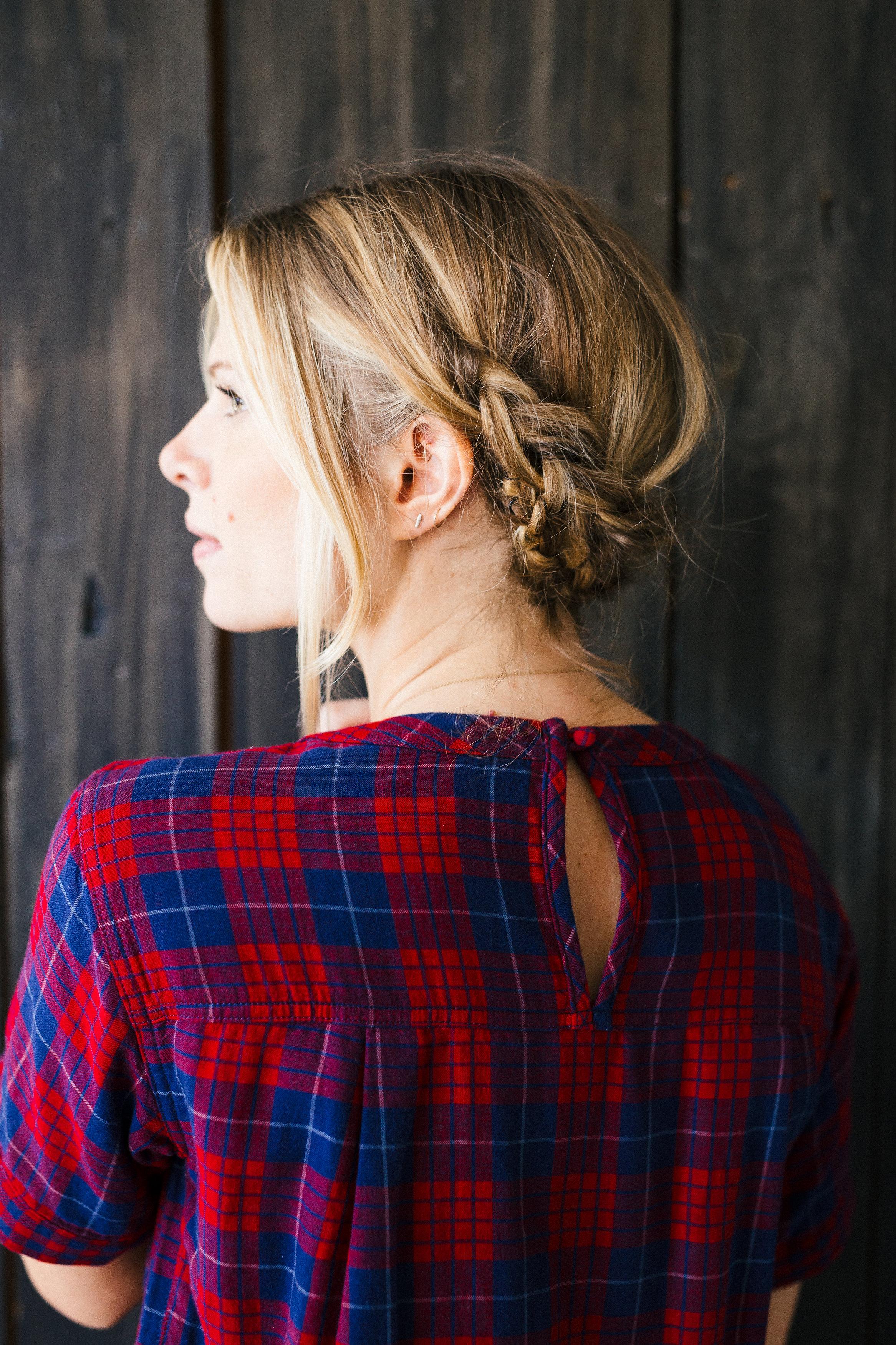 horseshoe milkmaid braid hair tutorial diy - plaid