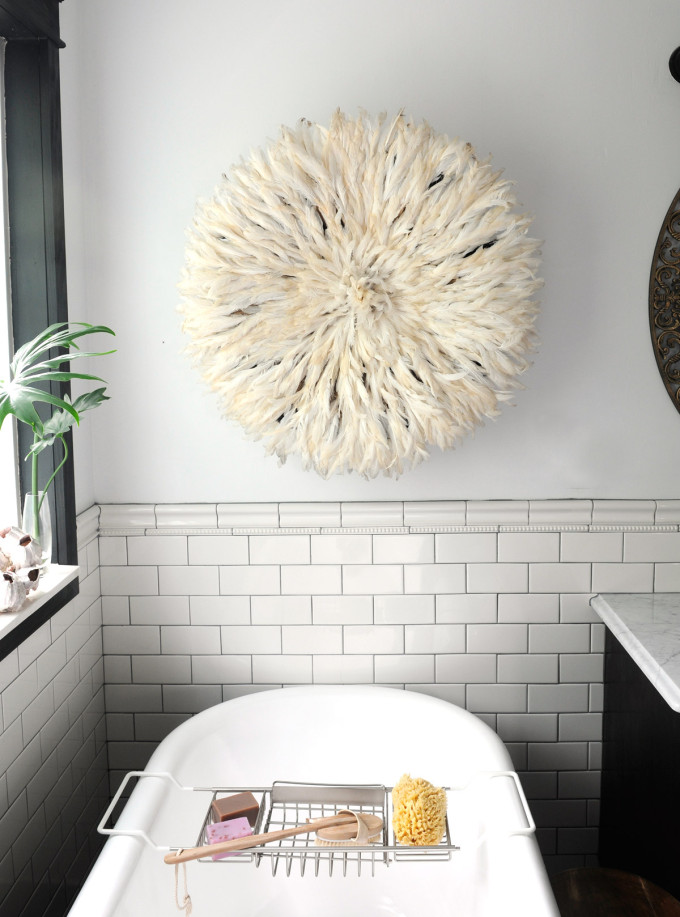 20 Ways to Decorate with African Juju Hats - Feather Headdresses - Interior Design - Juju Hat in the Bathroom