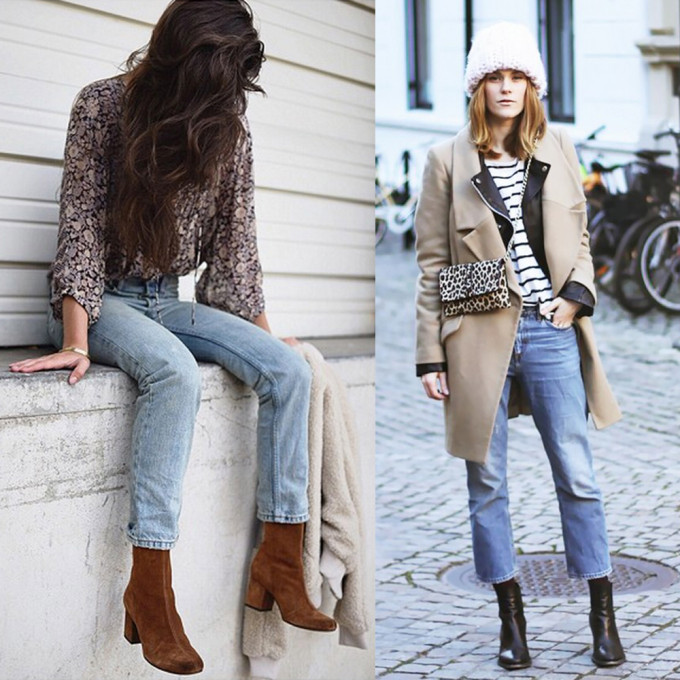 low block-heeled booties - street style fashion