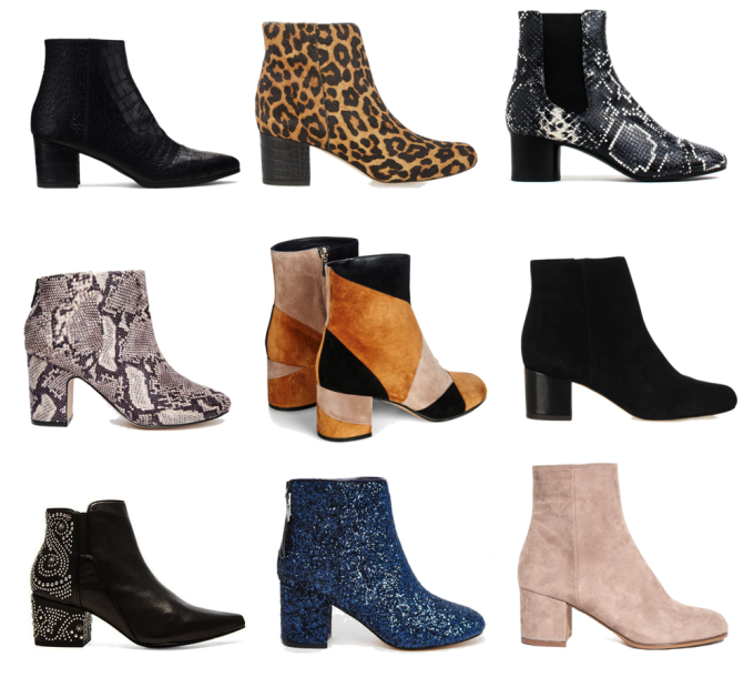 low-heeled block booties for fall and winter