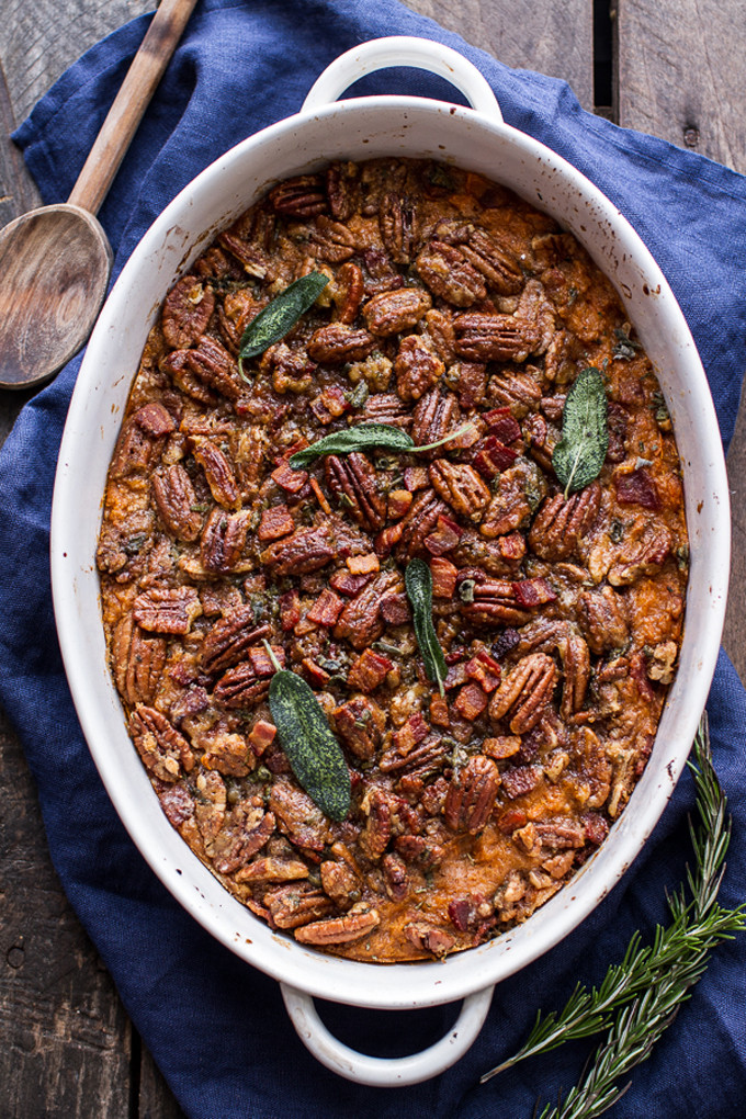 Bourbon Sweet Potato Casserole with Sweet-n-Savory Bacon Pecans