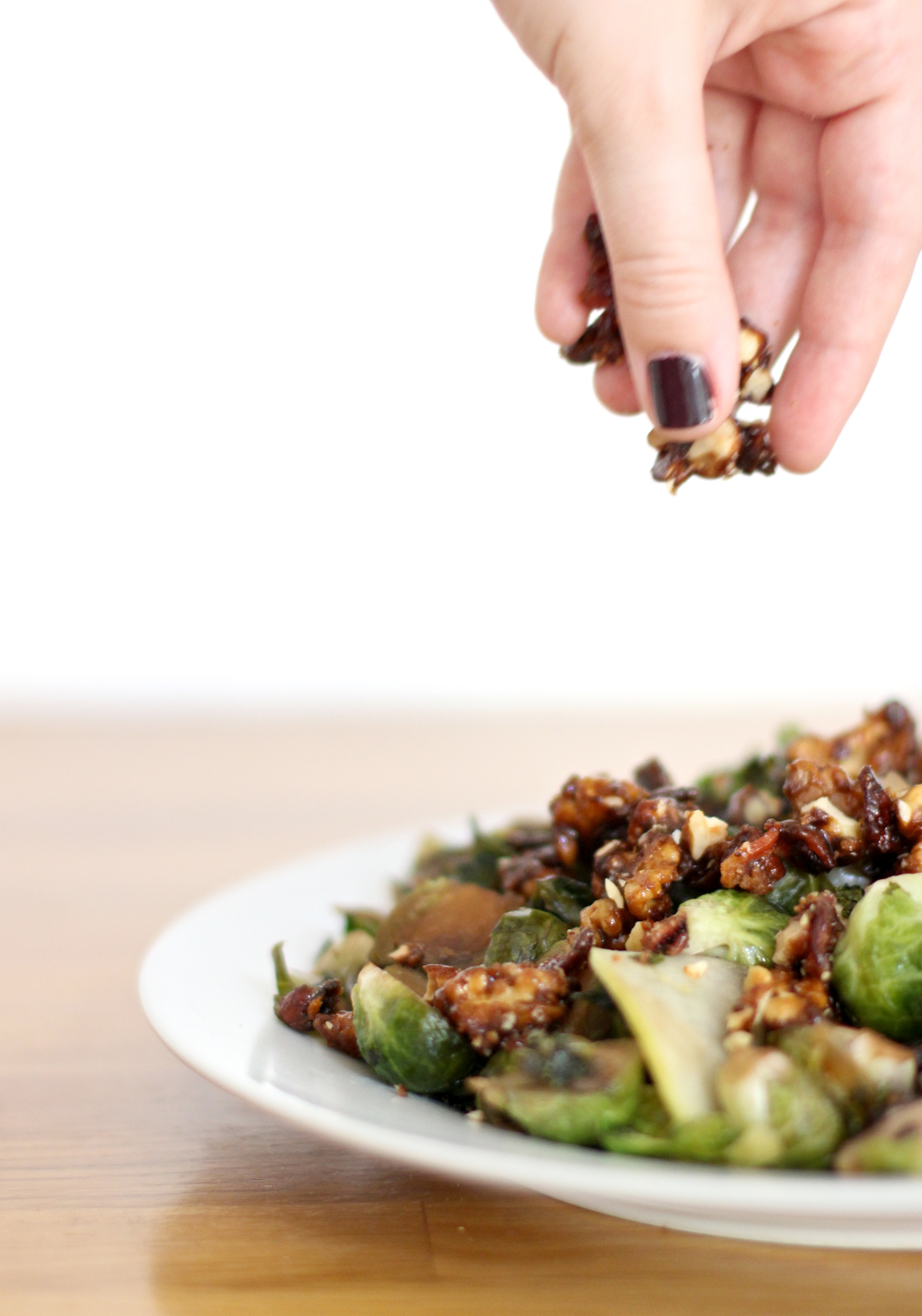 How to Make Brussels Sprouts with Candied Bacon and Walnuts (plus green apples, onions, mushrooms, and kale all tossed in a balsamic glaze!)