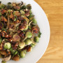 How to Make Brussels Sprouts with Candied Bacon and Walnuts (plus green apples, onions, mushrooms, and kale!)