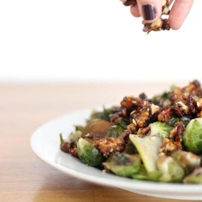 Brussels Sprouts with Candied Bacon & Walnuts