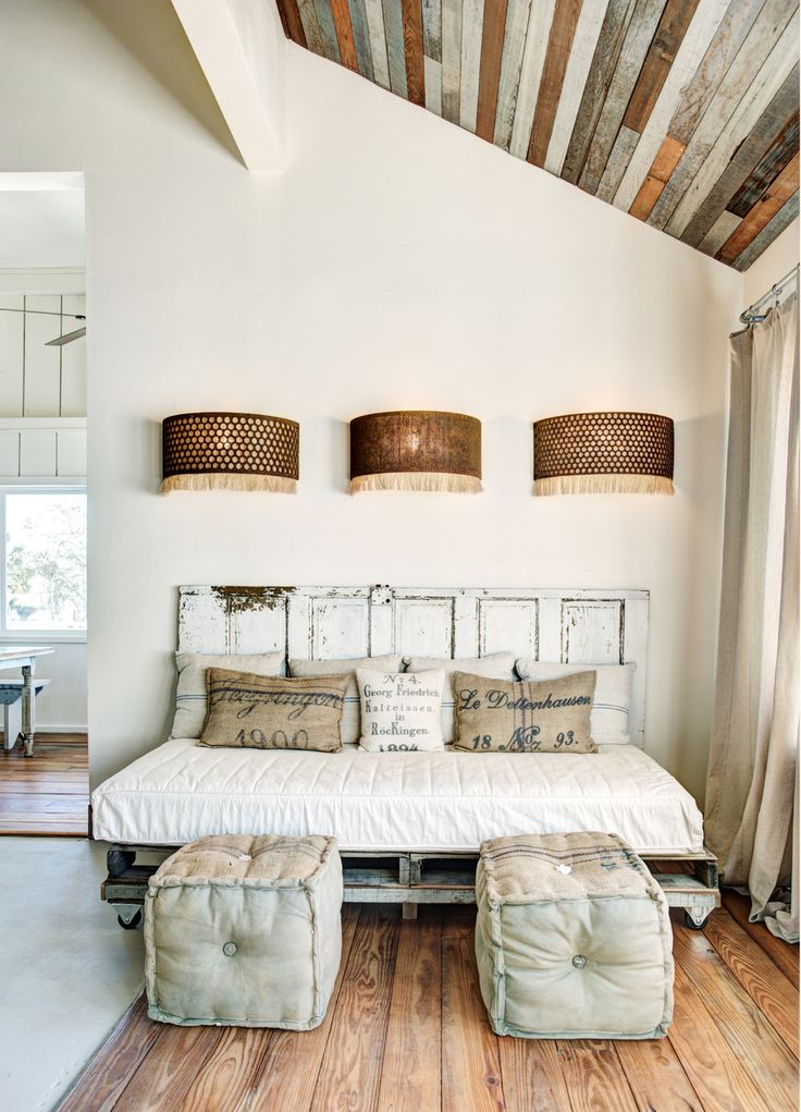 Interior Design Dreaming: The Daybed (plus so many more gorgeous options!) - DIY Daybed on vintage rustic palettes