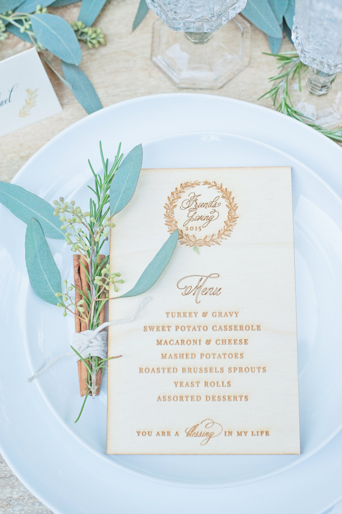 Lush Outdoor Thanksgiving (Friendsgiving) Dinner Party - Wood Menu and Cinnamon, Rosemary Bundle