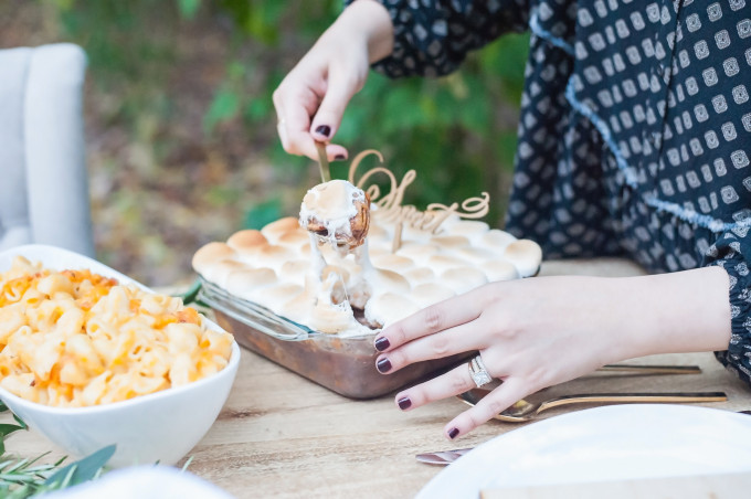 Lush Outdoor Thanksgiving (Friendsgiving) Dinner Party - Candied Yams