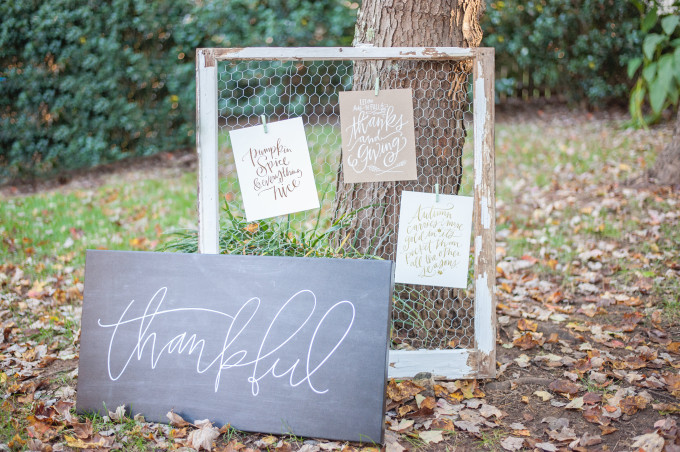 Lush Outdoor Thanksgiving (Friendsgiving) Dinner Party - Thankful Signs