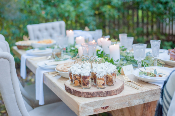 Lush Green Thanksgiving Table with Pecan Pie Shooters