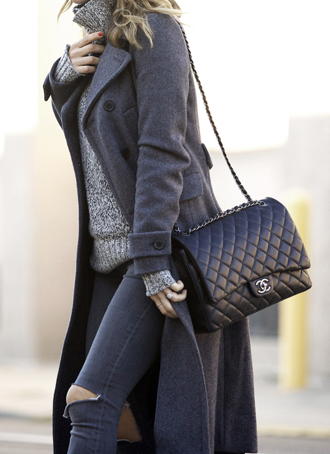 Theory 'Wyndrona' Wool Blend Turtleneck and Chanel Flap Bag and Grey Coat