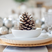 Winter Wonderland Dining Room Tour - pinecone place setting table