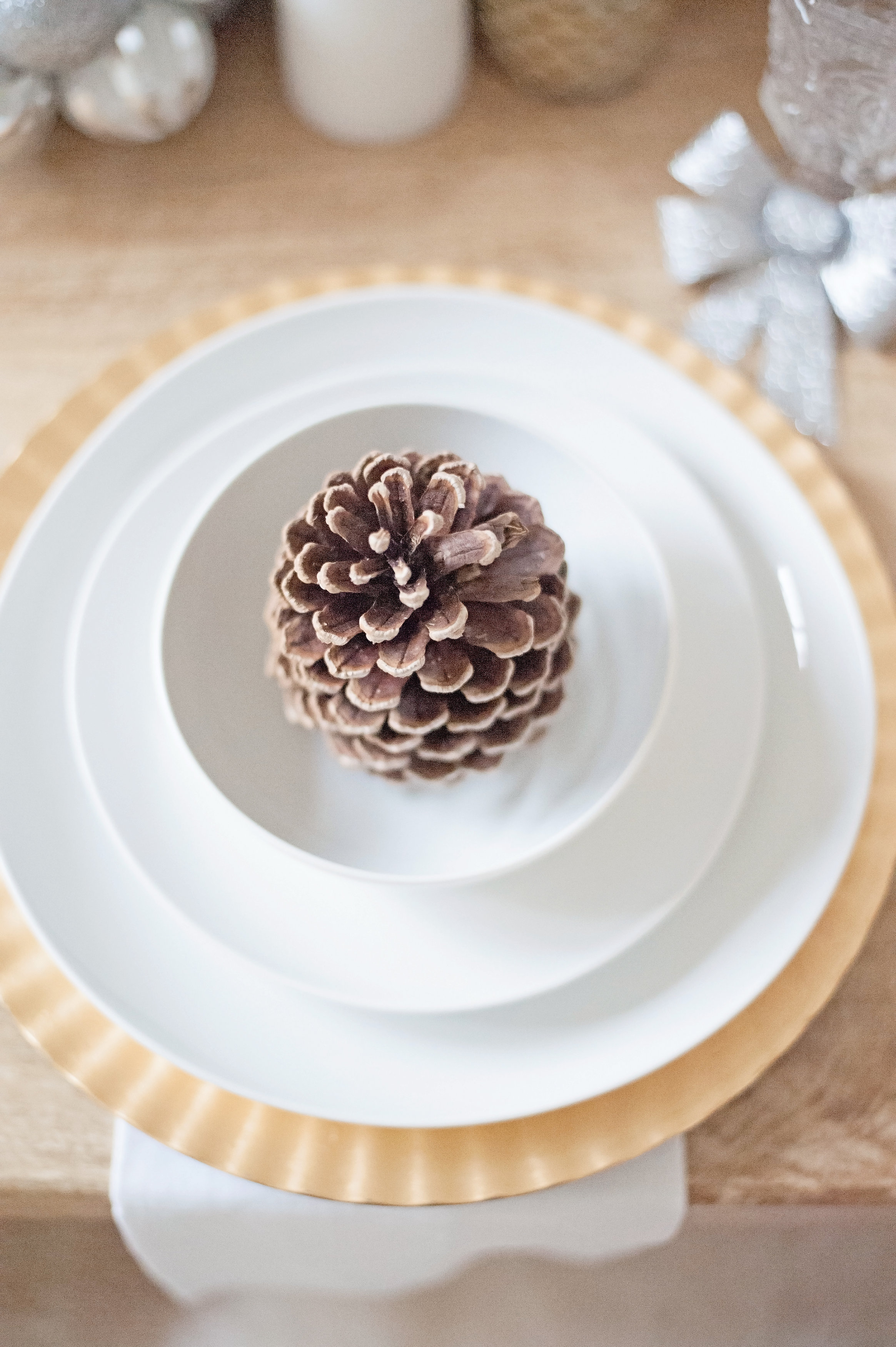 Winter Wonderland Dining Room Tour - Pinecone Table Setting