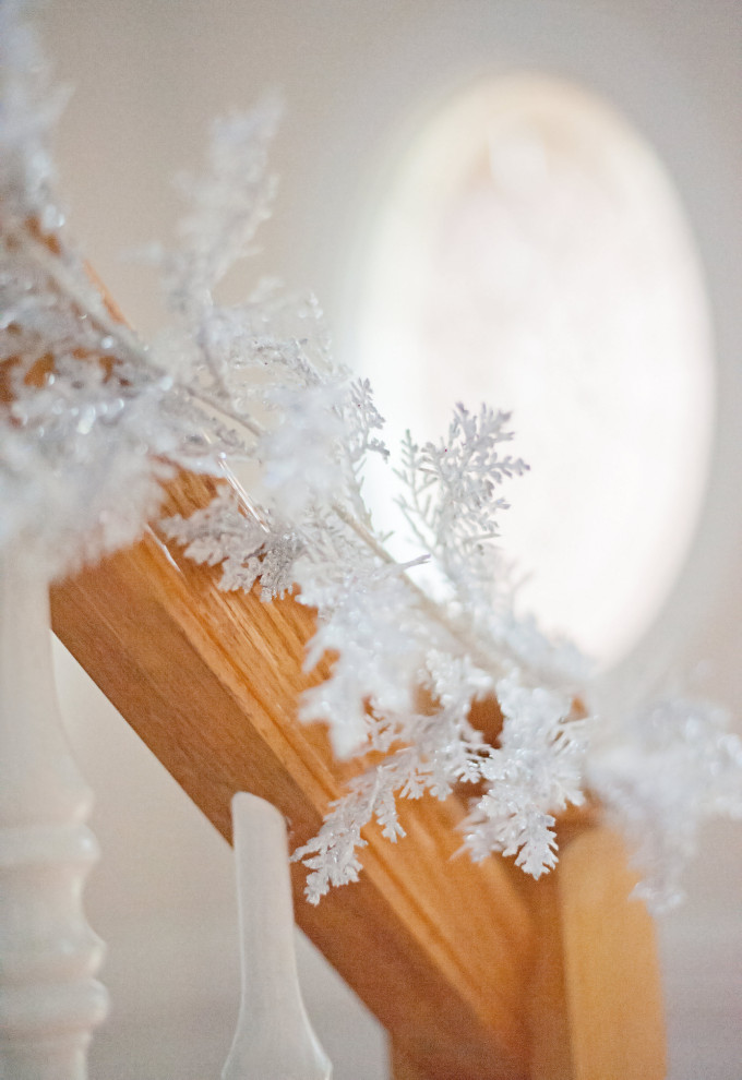 Winter Wonderland Dining Room Tour - stair banister