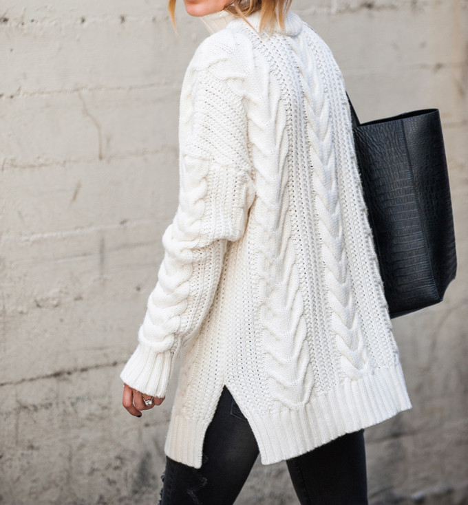 Anine Bing Knit Cream Oversized Sweater