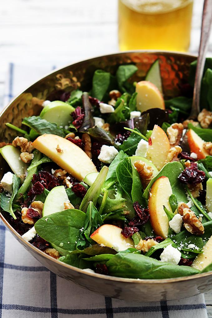Apple Cranberry Walnut Feta Salad