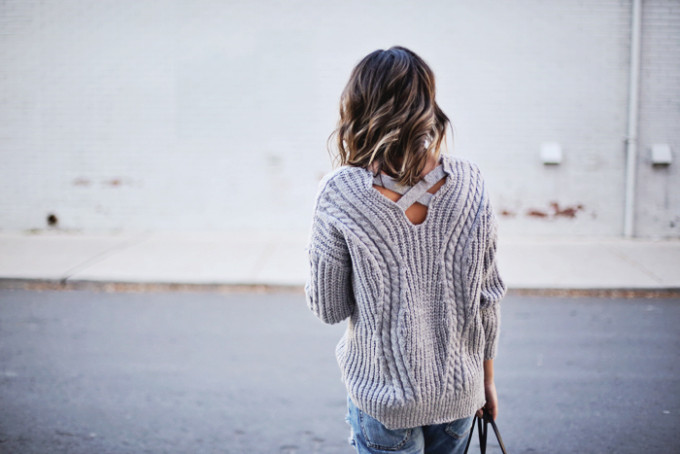 Grey V-Neck Sweater with Cross Back Detail - Fall and Winter Style