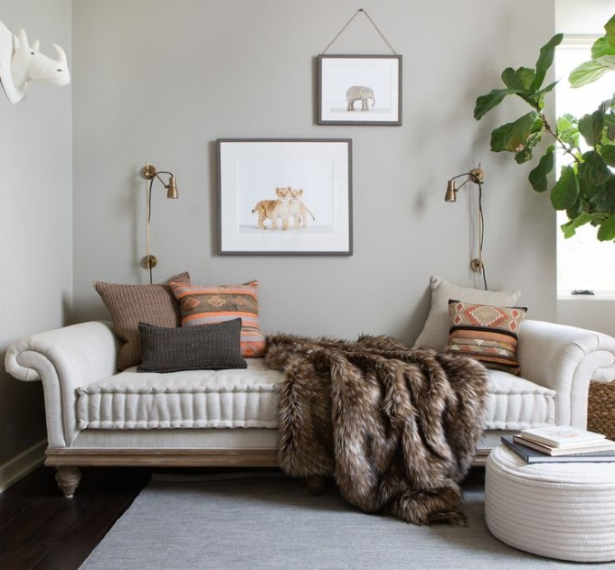 Interior Design Dreaming: The Daybed (plus so many more gorgeous options!) - daybed and baby animal prints // modern baby boy's nursery