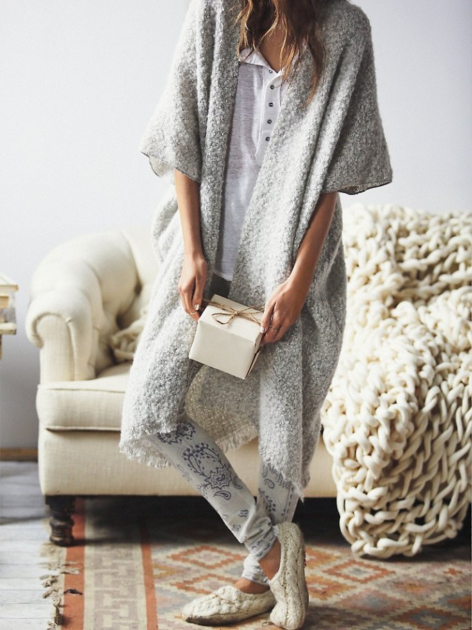 Free People Weekend Boucle Cardigan - Holidays - Oversized Knit Blanket Throw and Presents