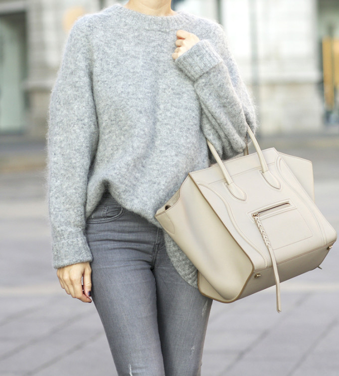 grey oversized sweater and celine bag street style
