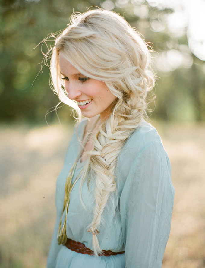loose fishtail braid - engagement shoot - diy tutorial
