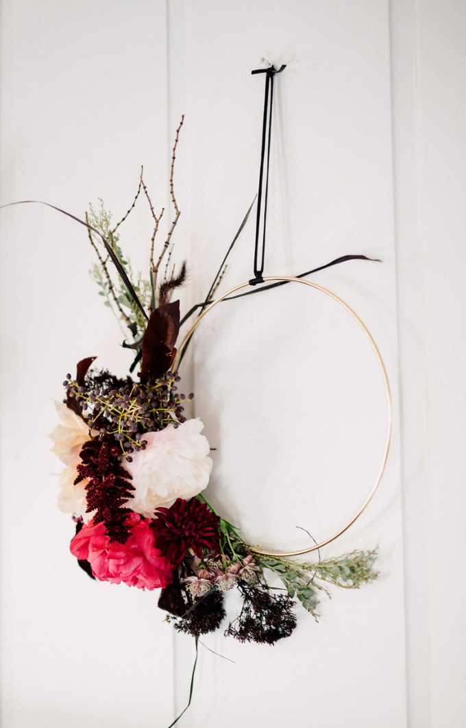 Modern Gold Hoop DIY Floral Wreath