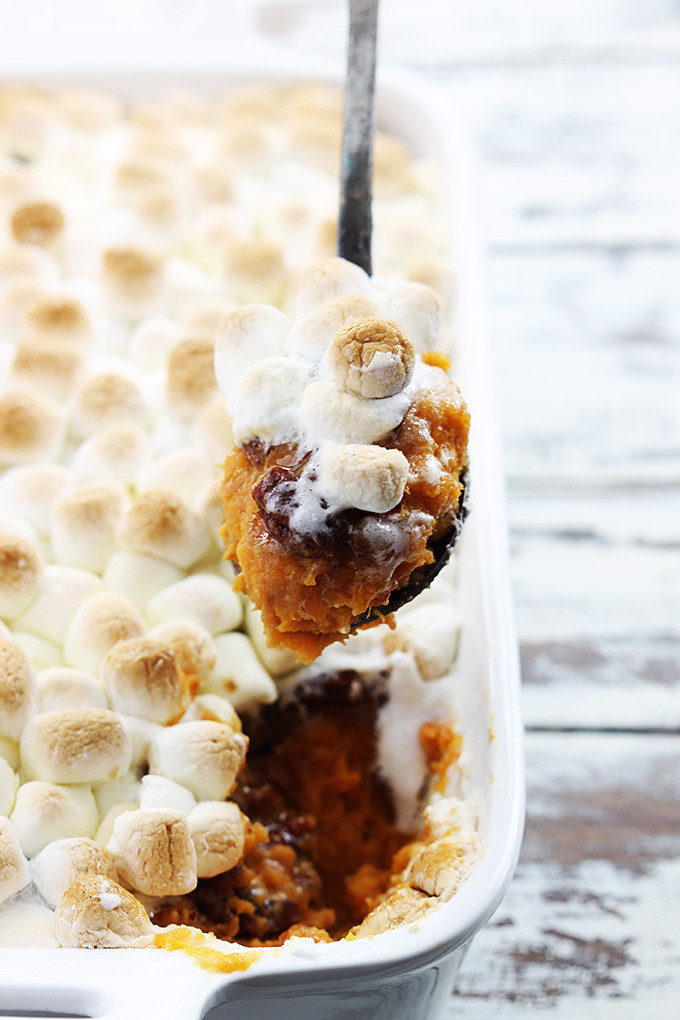 Candied Pecan and Marshmallow-Topped Sweet Potato Casserole
