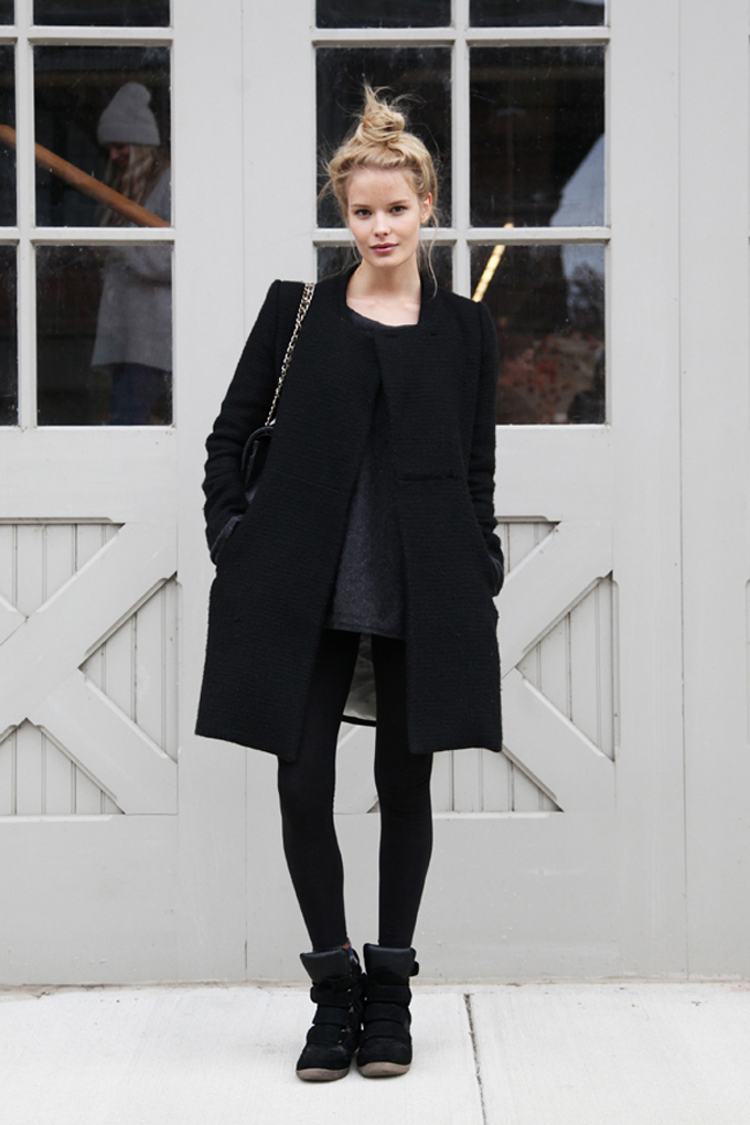 All-Black Street Style Fashion Texture Fur Coat Sneakers, Top Knot Outfit